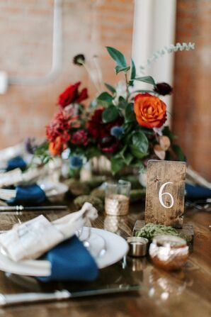 Rustic Table Number for Reception at Brick in San Diego, California