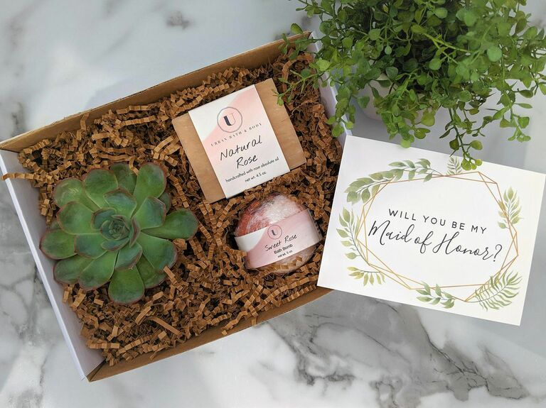 bridesmaid proposal box with succulent