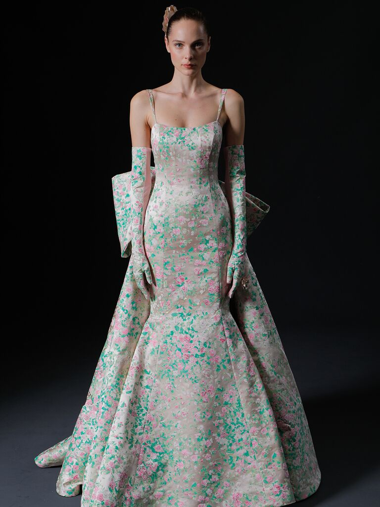 Isabelle Armstrong Spring 2020 Bridal Collection pink and green structured mermaid wedding dress with bow detail