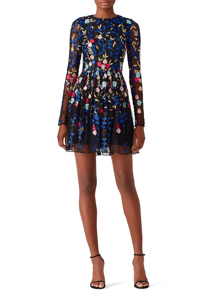 Embroidered colorful long sleeve mesh mini dress