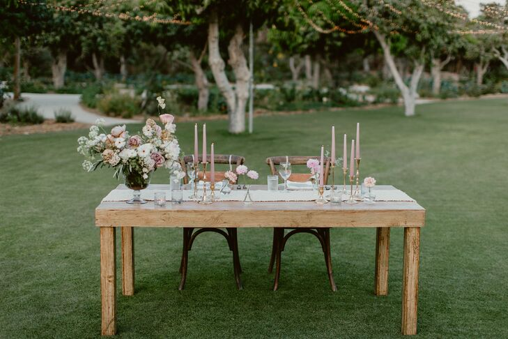 Romantic Wooden Sweetheart Table with Pink Candles