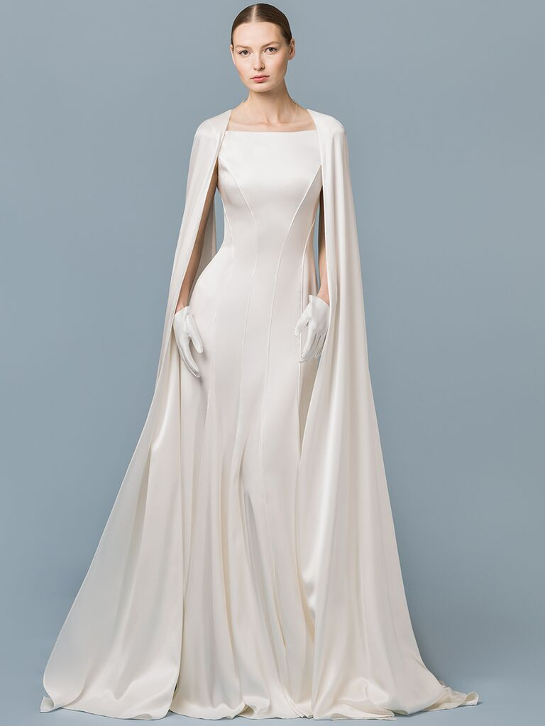 EDEM Demi Couture fit-and-flare gown with high neck and cape detail