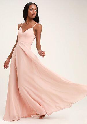 Lulus Romantic Ways Blush Pink Lace Button Back Maxi Dress V-Neck Bridesmaid Dress
