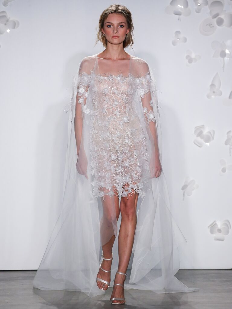 Mira Zwillinger Spring 2020 Bridal Collection sheer tulle short wedding dress with long train
