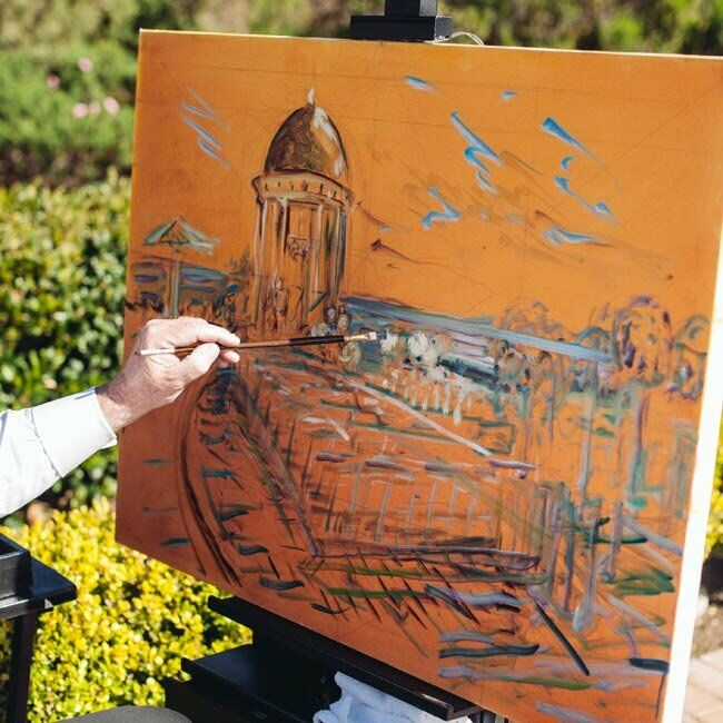 The couple hired artist Rich Flynn to do a paint their wedding ceremony as it occurred.