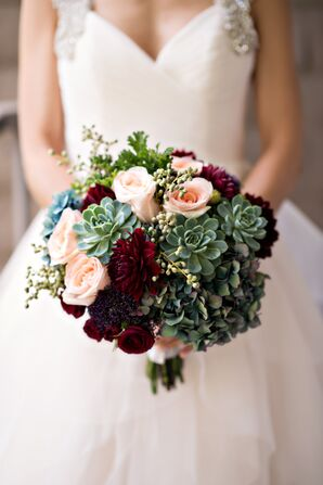 Romantic Succulent, Rose and Dahlia Bouquet