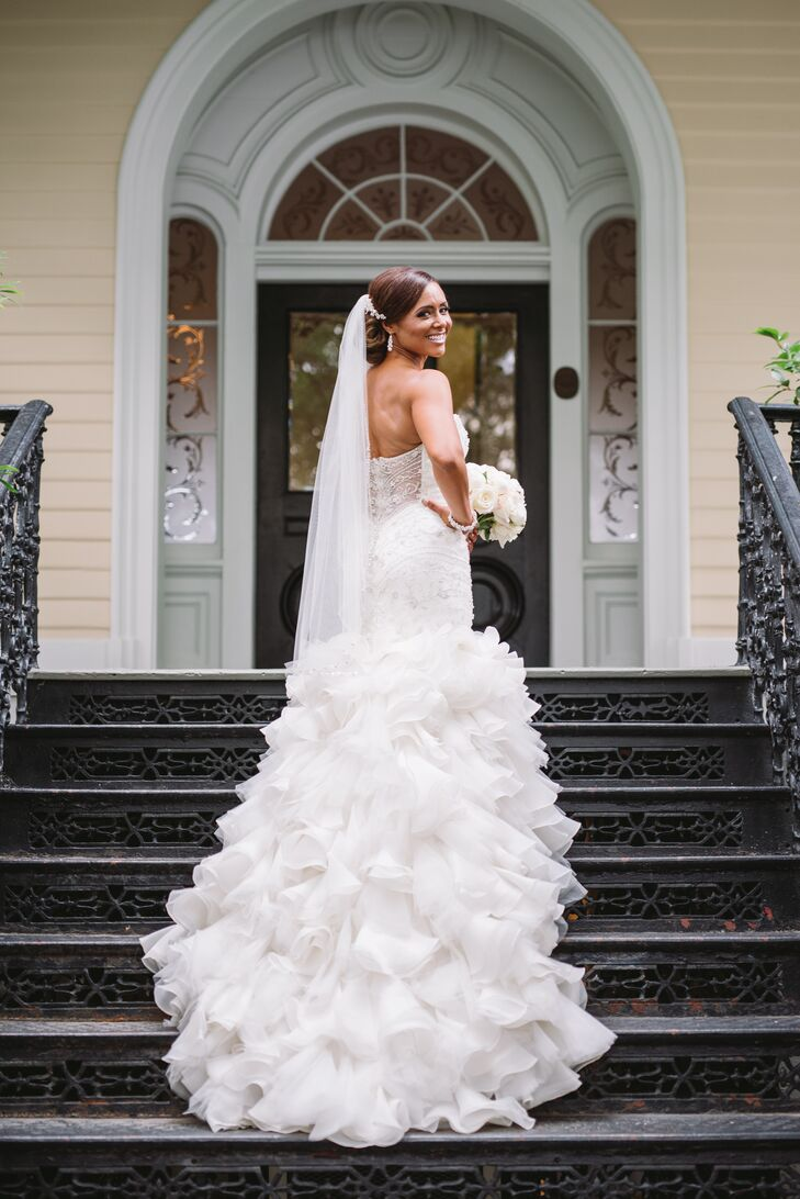 African-American Bride in Glamorous Beaded Mermaid Gown with Tulle Train and Veil