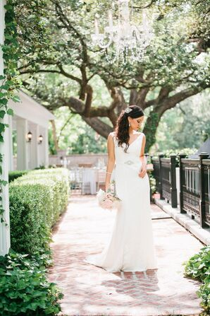 David's Bridal Sheath Lace Gown