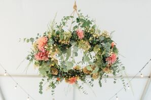 Hanging Floral Chandelier with Bright Dahlias and Eucalyptus