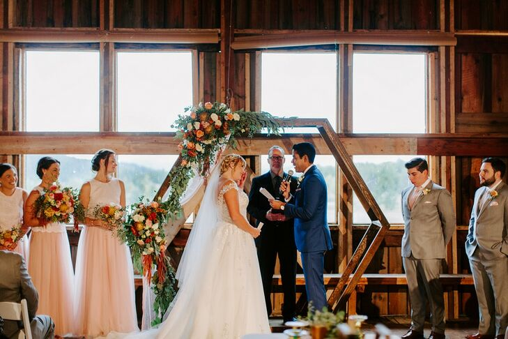 Rustic Ceremony with Wooden Hexagonal Wedding Arch