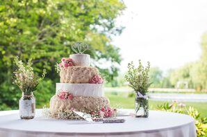 Champagne and Ivory Fondant Wedding Cake