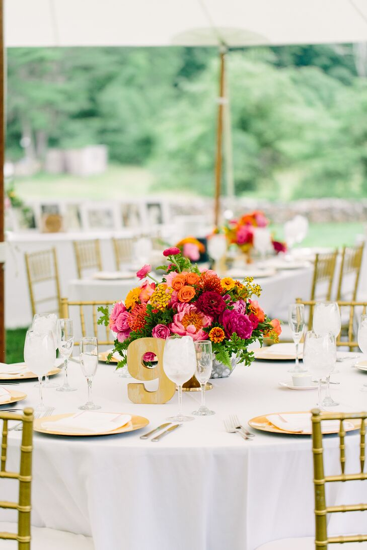 Orange and Fuchsia Dahlia, Rose and Peony Centerpiece
