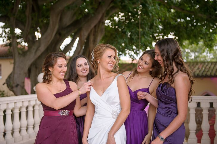 Florida Purple And Cranberry Bridesmaid Dresses