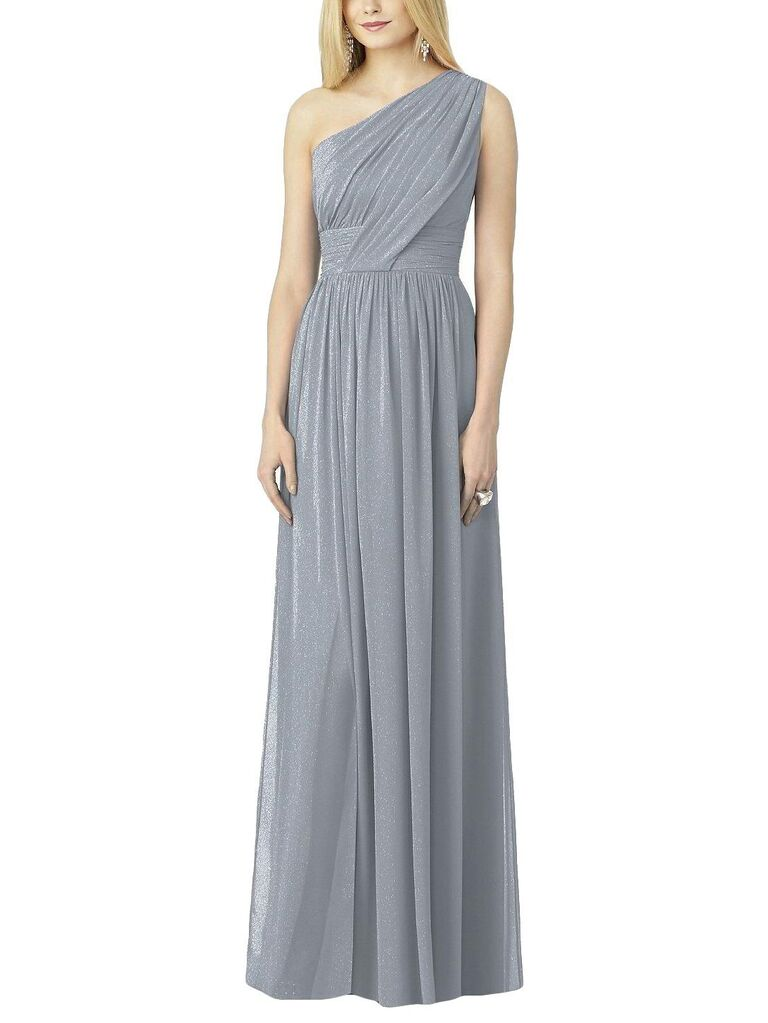 Sparkly silver gray one shoulder bridesmaid dress