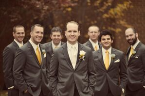 The Groomsmen in Charcoal Gray Tuxedos with Bright Yellow Ties
