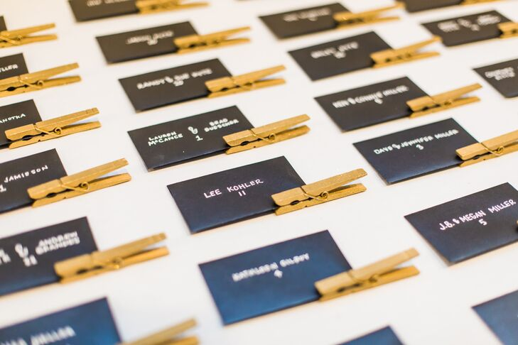 Black Escort Cards with Gold Clothespins