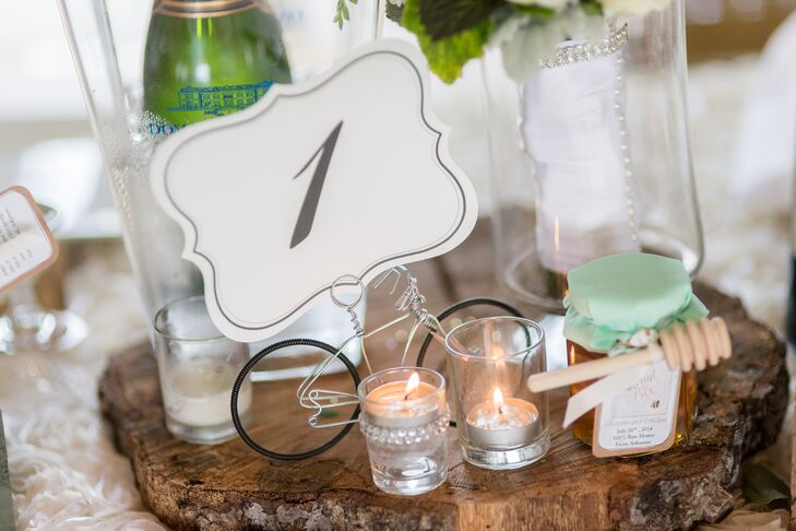 """The table numbers were held by tiny bicycle handmade that I had found on Etsy and were kindly shipped super fast from England,"" Melissa says. ""My husband is a triathlete and he loves anything connected to cycling."""