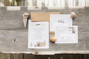 Rustic Modern Camp-Inspired Wedding Invitations