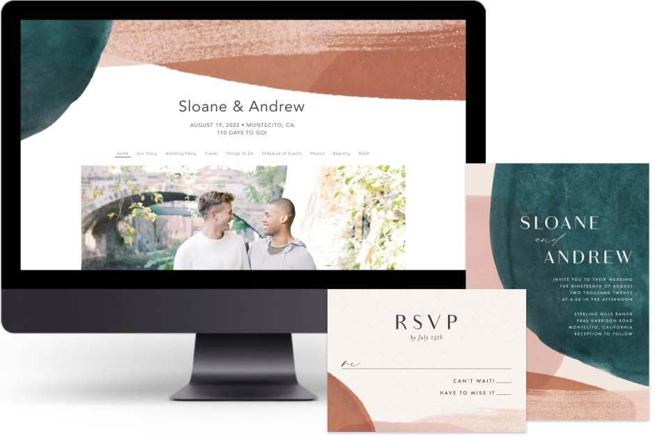 Teal Abstract Watercolor wedding website design with matching paper suite