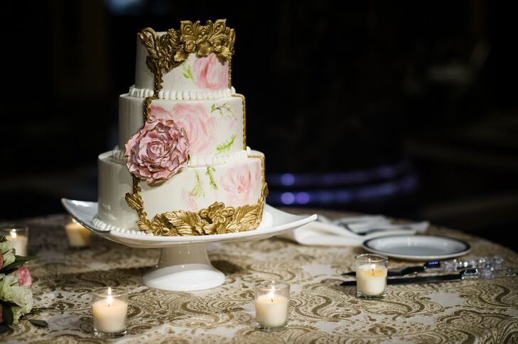 White-Almond-Buttercream-Covered Cake with Watercolor and Gilded Accents
