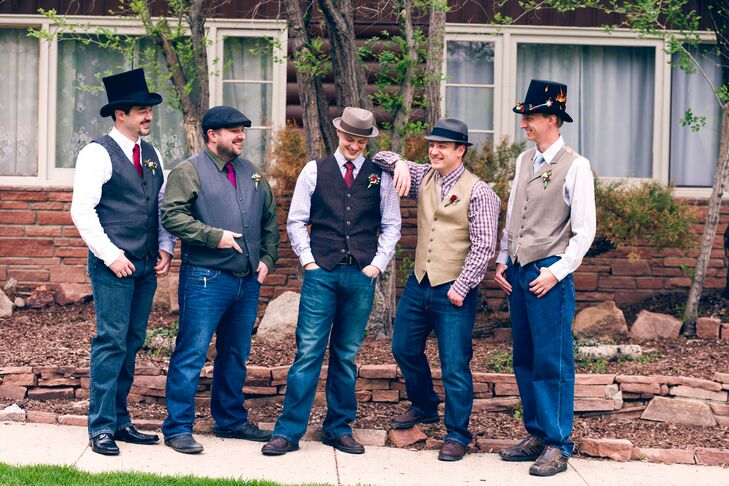 Casually Dressed Groomsmen in Mismatched Hats f99aec9eee2
