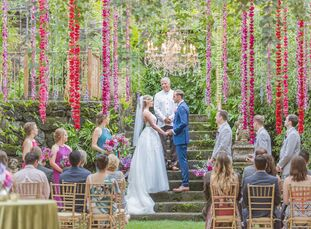 """MorganSmith and Nic Frazer traveled to Hawaii for a rustic, eclectic destination wedding at Haiku Mill. """"The old-world European feel of the venue, co"""