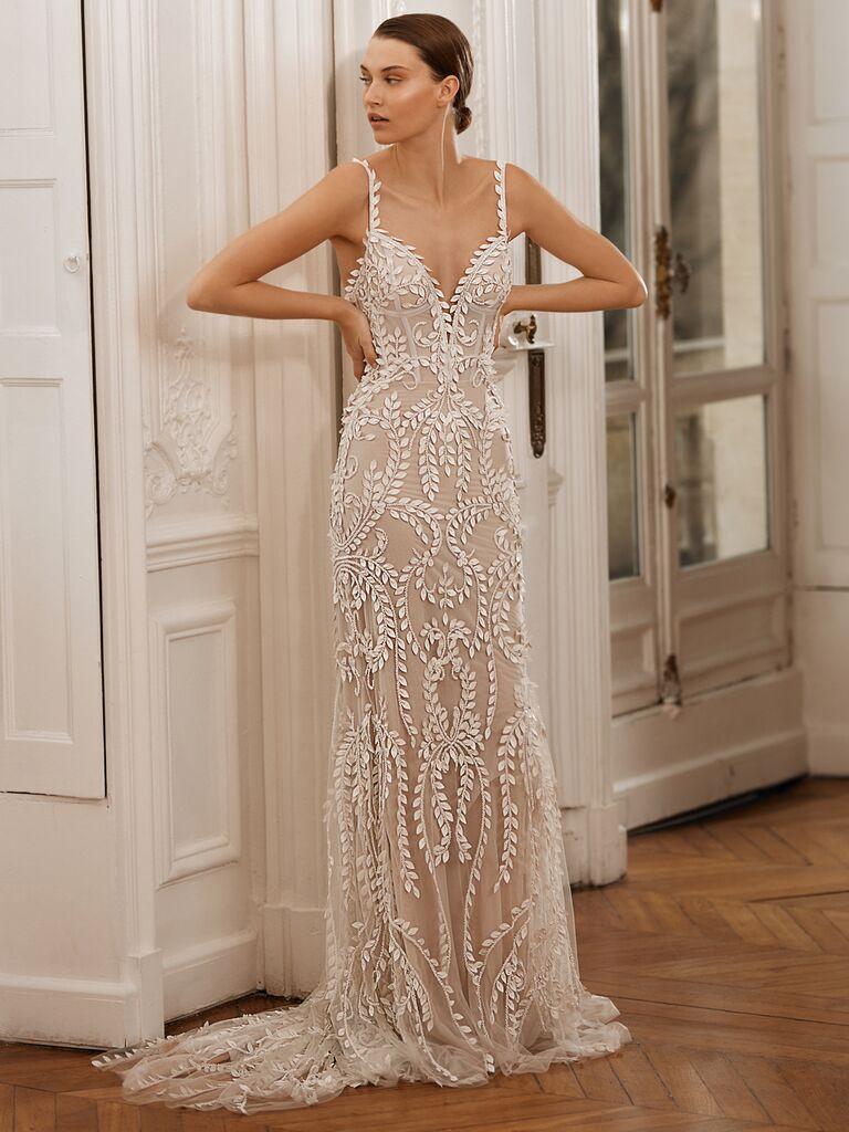 Dana Harel Spring 2020 Bridal Collection embroidered sheath wedding dress