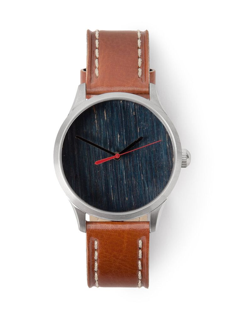 15-year anniversary watch with brown leather strap and dial made from reclaimed wood