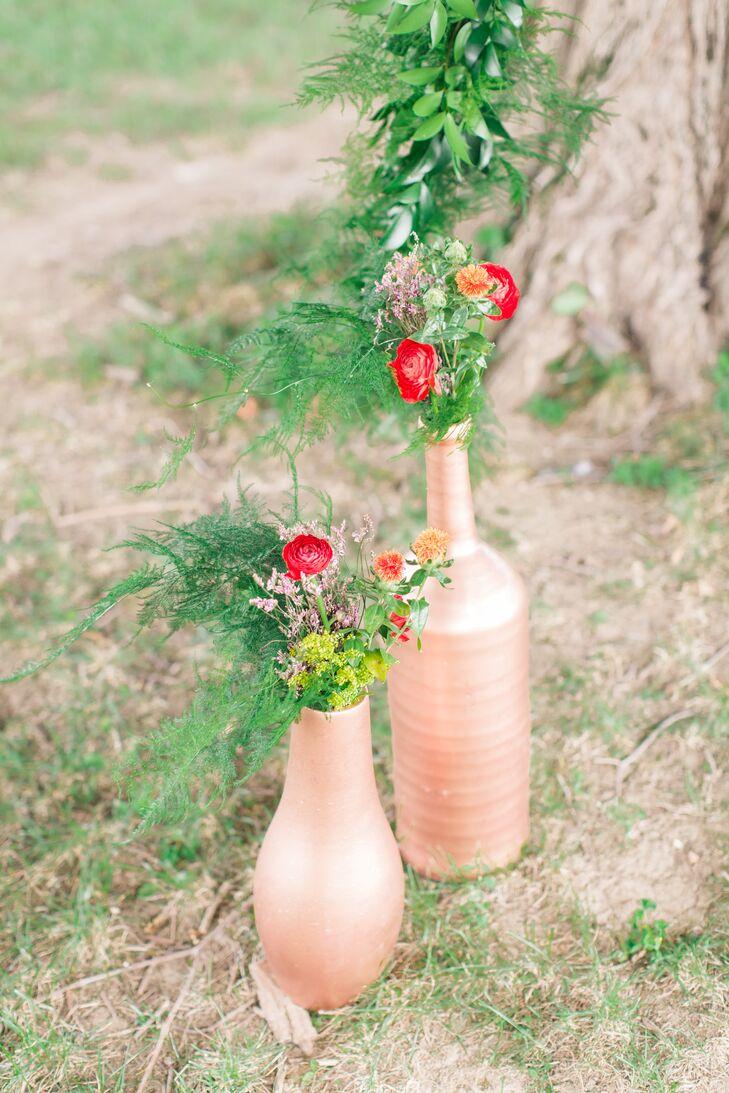 Copper Vessel Centerpieces with Florals