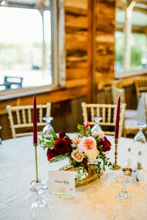 Vintage Centerpieces with Roses and Taper Candles
