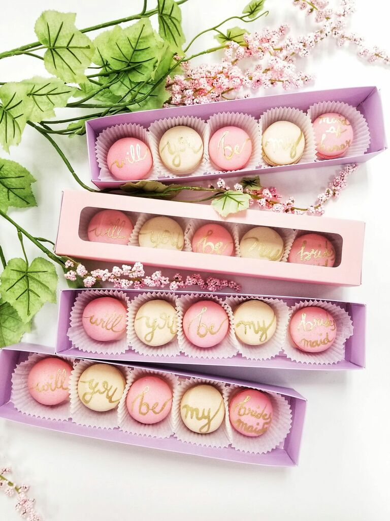 personalized will you be my bridesmaid macarons
