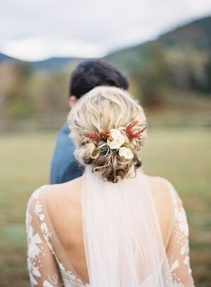 Elegant Curled Updo with Autumnal Floral Hair Accessories