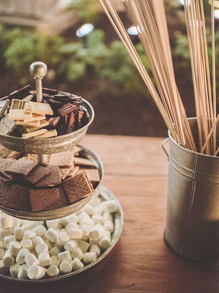 DIY dessert bar for a creative wedding reception menu idea