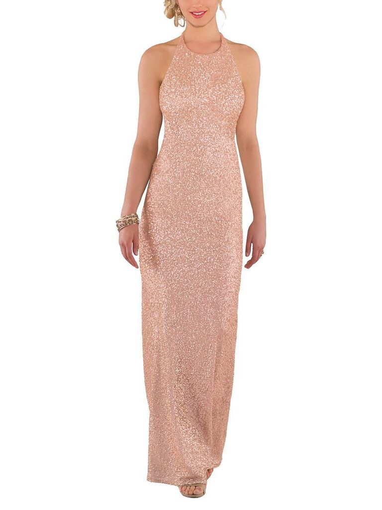 Rose gold sequin sheath bridesmaid dress