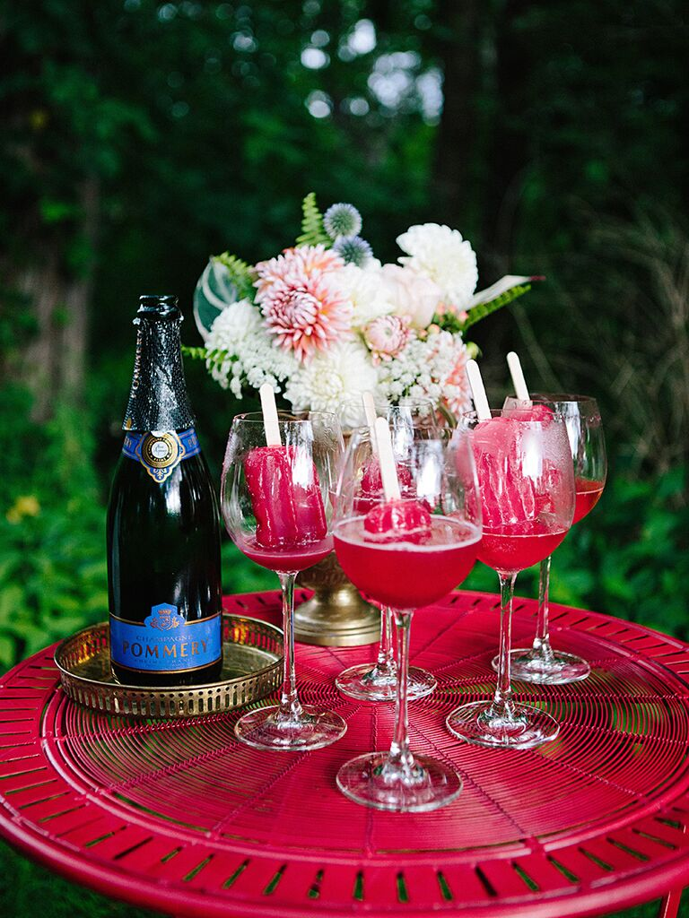 Popsicles and champagne for a creative wedding reception menu idea