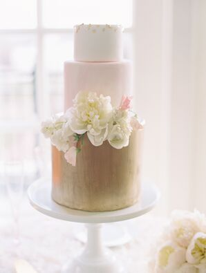 Gold and Blush Tiered Fondant Wedding Cake
