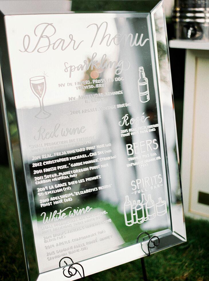Hand-Lettered Mirror Bar Menu
