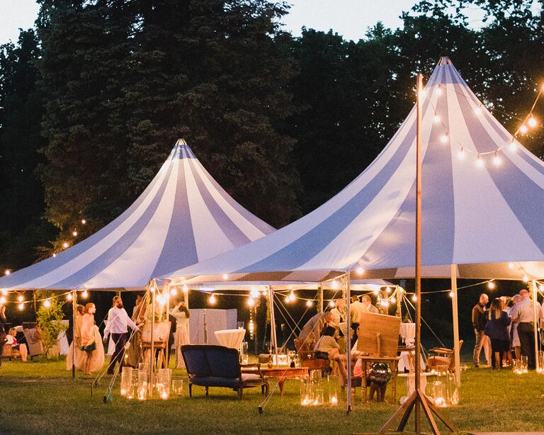 covid outdoor tent wedding with twinkle lights