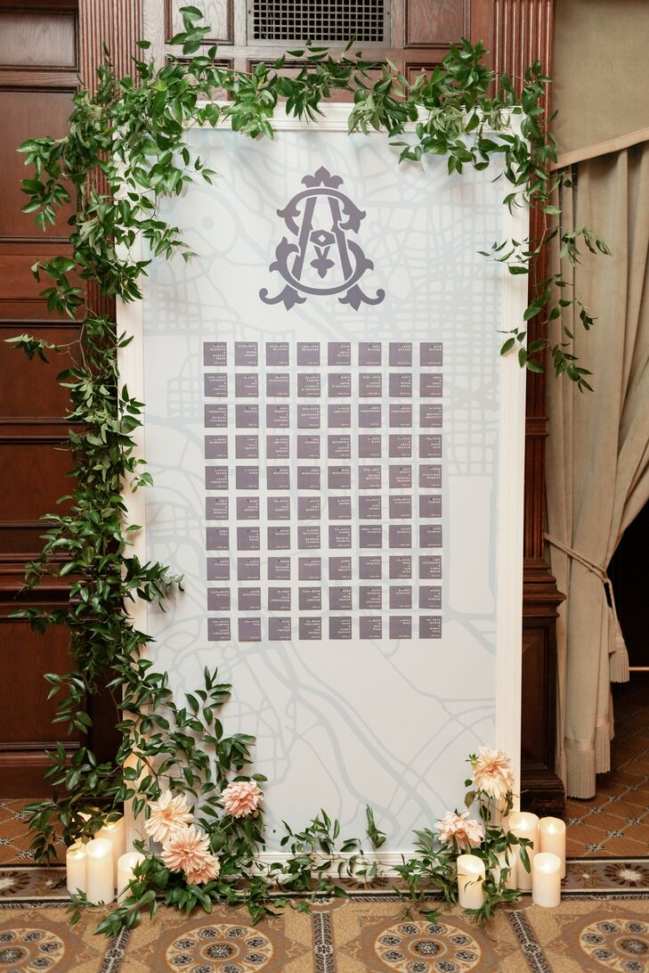 Monogrammed Seating Chart for Wedding at Hay-Adams Hotel in Washington, DC
