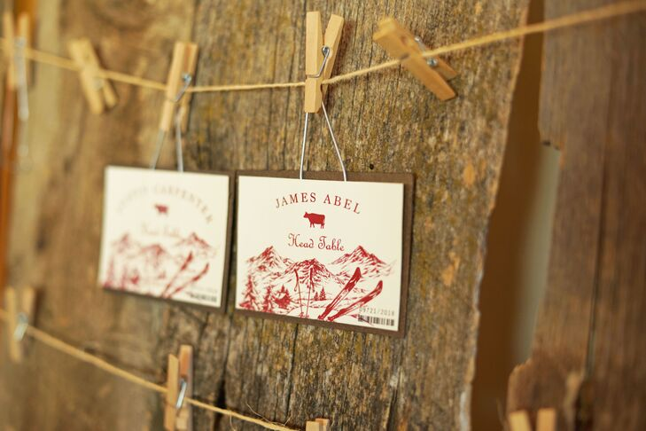 Rustic Paper Escort Cards on Clothespins