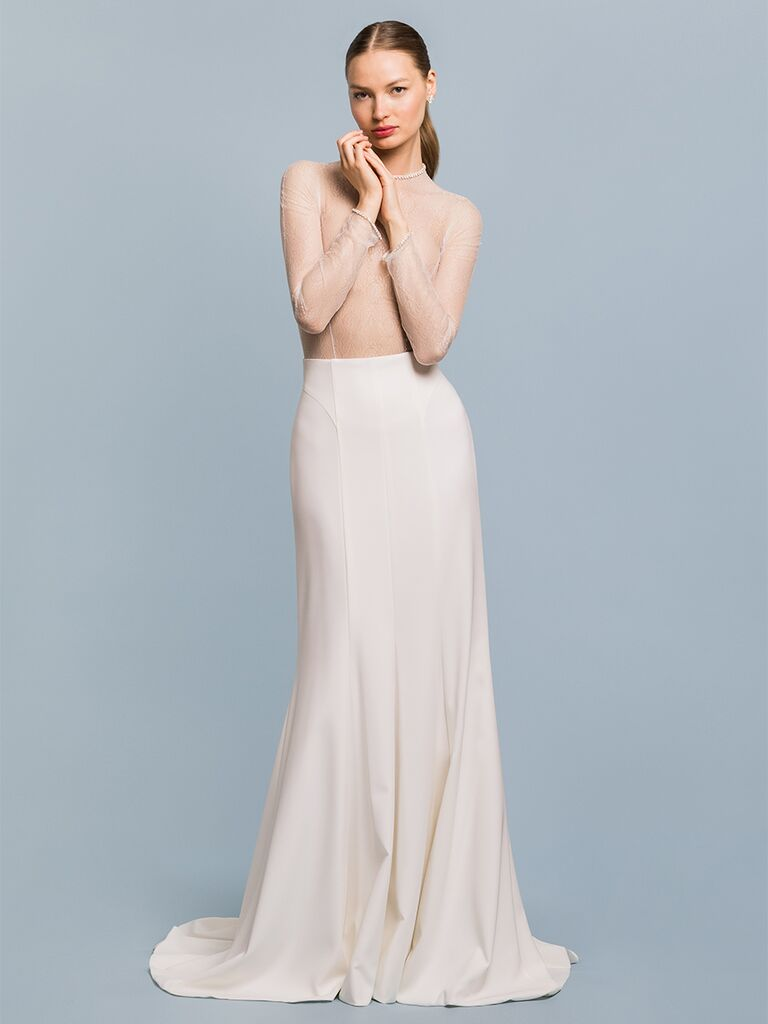 EDEM Demi Couture A-line dress with high waisted skirt and sheer top