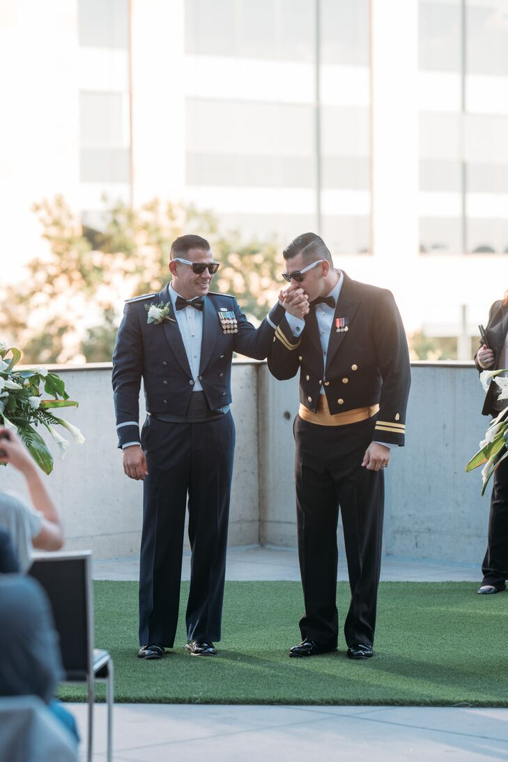 Despite eloping in Las Vegas the year before, Bruce Robison (32 and an Air Force operations officer) and Jose Plata's (30 and a Navy physician) one-ye