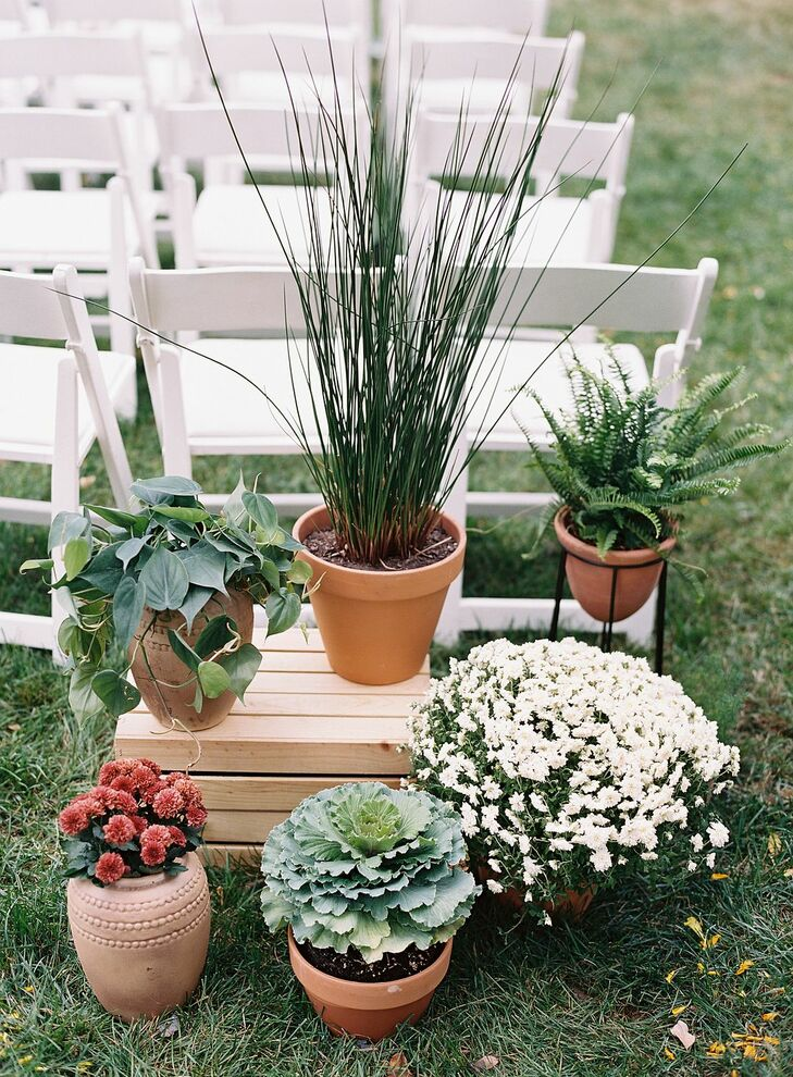 Potted Plants as Aisle Decoration at The Clifton Inn in Charlottesville, Virginia