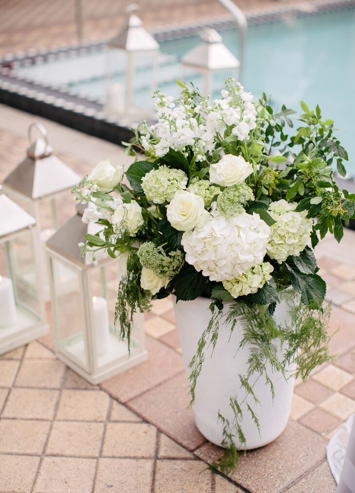Cascading Ivory And Hydrangea Rose Flower Arrangements