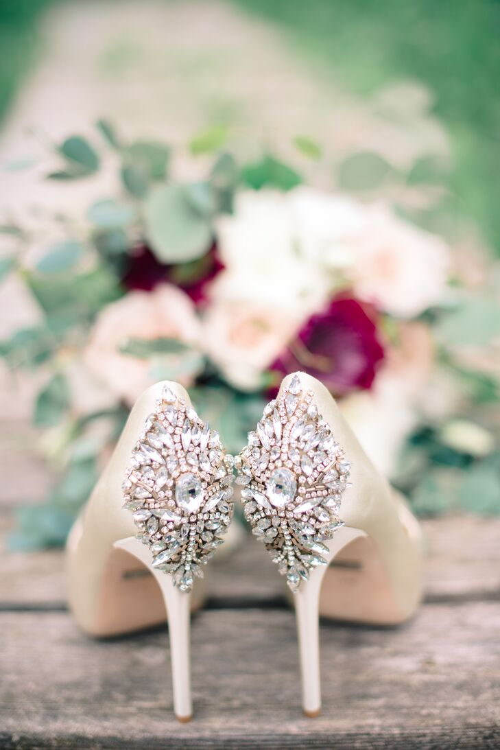 A bit of glitz and glamour was definitely in order for Nancy's wedding day, and a pair of crystal-embellished Badgley Mischka pumps were the perfect fit. Bearing blush gems on the heels, the steppers offered a punch of pizazz to her elegant Rivini gown.