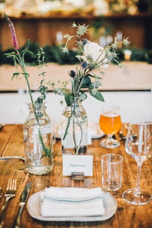 Thistle in Glass Jars and Blue and White Place Cards