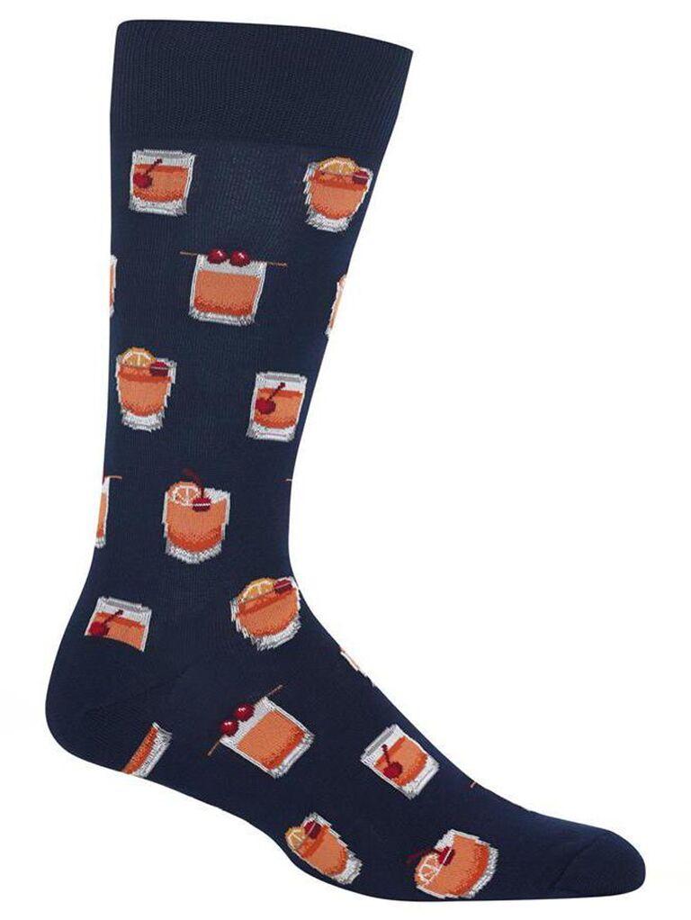 Cocktail wedding socks for groom or groomsmen