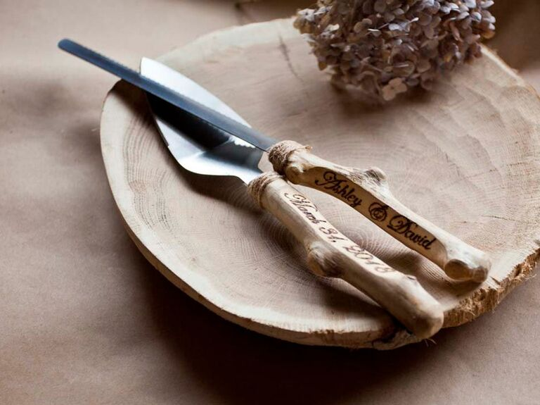 Rustic wedding cake knife and server