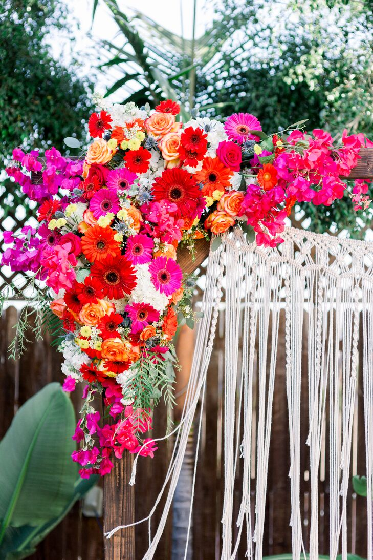 Wedding Arch with Colorful Sunflowers, Roses and Macramé