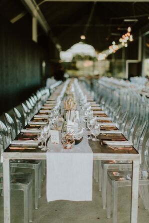 Farm Tables With Copper Flatware and Ghost Chairs